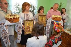 Ukrainian tradition :parents are  blessing young couple with wedding bread and icons for happy future marrige, from Iryna with love