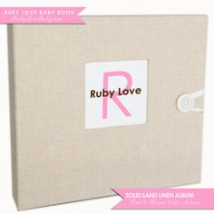 GIRL Modern Baby Memory Book . Textured Sand by rubylovedesigns, $60.00