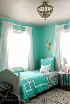 Fresh Aqueduct SW 6758 sets just the bright tone in this bedroom decor refresh.