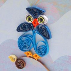 Blue Owl Greeting Card, Hand Quilled, Blank Inside Requires Wise Words