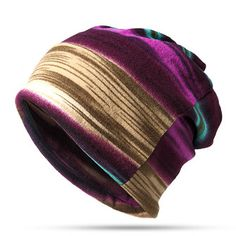 87c5b67100a Women Cotton Stripe Beanie Casual Outdoor Windproof Hats For Both Cap And Scarf  Use is hot sale on Newchic Mobile.