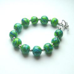 Polymer Clay Bracelet with Blue and Green by LaRiSsAnnBEADSbyHand, $35.00