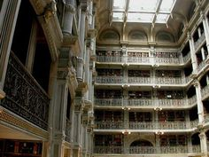 The George Peabody Library was originally the Peabody Institute Library, an institution that was meant to be a cultural center for Baltimore. The Library was a part of the Institute from 1878 until 1967 when it became owned by the city of Baltimore, eventually passing to Johns Hopkins in 1982 where it now holds the University's special collections. Many of the collection's titles date to the 19th century and the library has one of the world's foremost collections of Don Quixote editions. The...