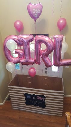 Home Remodel Closet pink girl balloons gender reveal ideas for family he or she carton box heart shaped balloon.Home Remodel Closet pink girl balloons gender reveal ideas for family he or she carton box heart shaped balloon Gender Reveal Box, Pregnancy Gender Reveal, Gender Reveal Balloons, Gender Reveal Party Decorations, Baby Gender Reveal Party, Baby Reveal Ideas, Unique Gender Reveal Ideas, Pregnancy Tips, Gender Party Ideas