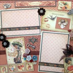 Graphic 45 February 12x12 scrapbook layout using Place in Time collection and My Mind's Eye paper.