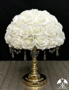 IVORY Rose Arrangement made with PREMIUM Real Touch Silk Roses. IVORY Wedding Centerpiece. Quinceaera. Sweet 16. Bridal Shower. PICK ROSE COLOR! 14 SIZE PICTURED.  GOLD STAND With CRYSTALS Sold Separately Ivory Wedding, Peacock Wedding, Luxury Wedding, Yellow Wedding, Burgundy Wedding, Rose Wedding, Bling Wedding, Destination Wedding, Chic Wedding