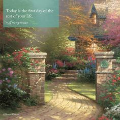 """Sunday Inspiration. """"Share the Light."""" """"Rose Gate"""" - Thomas Kinkade - 1995 - #inspirationalquote"""