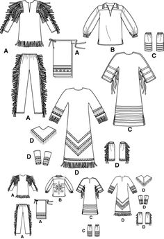 Native American Clothing Patterns | Native American pow WOW Indian Costume Frontier Pattern Simplicity ...