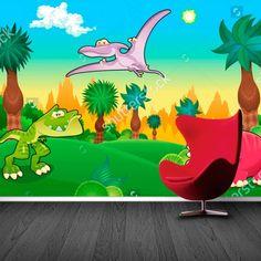 Fotobehang Vrolijke dino's | Maak het jezelf eenvoudig en bestel fotobehang voorzien van een lijmlaag bij YouPri om zo gemakkelijk jouw woonruimte een nieuwe stijl te geven. Voor het behangen heb je alleen water nodig!   #behang #fotobehang #print #opdruk #afbeelding #diy #behangen #dino #dinosaurus #prehistorisch #cartoon #tekening #kinderkamer #grappig