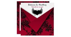 This dramatic red and black FAUX folded wedding invitation is perfect for a Gothic or Halloween wedding. The rich blood reds and black florals evokes the feeling of heavy baroque draperies and haunted mansions. It would also work well for a Fairy-tale theme, or Celtic celebration. All the text is customizable and so are the paper choices. If you require any other items in this design, please email your request to niteowlstudio@gmail.com.