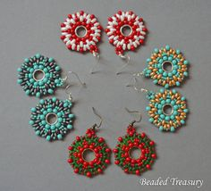 Beadweaving tutorial for Juicy summer earrings / by BeadedTreasury