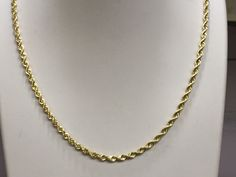 14kt Yellow Gold Solid Rope Chain 2.5 mm Width 8.0 Inch Long (3.8 Grams) by RG&D..|||| #14kt #gold #chain #jewelry #metal #goldchain #whitegold #yellowgold #mens #women #his #her #style #fashion #online #shopping #chains #goldchains #follow #pinterest #richmondgoldanddiamond