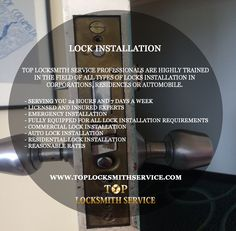 Lock Installation: Top Locksmith Service is the most reliable locksmith company in Maryland and District of Columbia area. Our professionals are highly trained in the field of all types of locks installation in corporations, residences or automobile. www.toplocksmithservice.com #LockInstallation #Locks #TopLocksmith #Locksmith