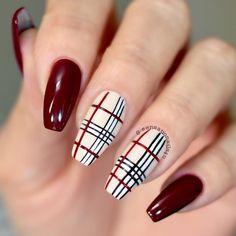 Fall Nail Designs - My Cool Nail Designs Plaid Nail Designs, Fall Nail Art Designs, Acrylic Nail Designs, Simple Acrylic Nails, Fall Acrylic Nails, Burgundy Acrylic Nails, Cute Nails, Pretty Nails, My Nails