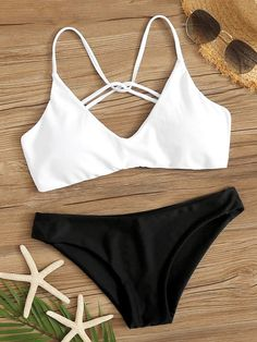 To find out about the Strappy Back Top With Panty Bikini Set at SHEIN, part of our latest Bikinis ready to shop online today! Bathing Suits For Teens, Summer Bathing Suits, Cute Bathing Suits, Cute Swimsuits, Cute Bikinis, Women Swimsuits, Bikinis For Teens, Summer Bikinis, Teen Bikinis