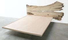 SPALTED MAPLE HEADBOARD AND BED FRAME WITH GLASS SHELF