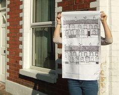 Tea Towel Belfast Terraces by FlaxFox on Etsy, £10.00