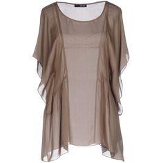 Liu •jo Blouse ($82) ❤ liked on Polyvore featuring tops, blouses, khaki, short-sleeve blouse, khaki blouse, short sleeve blouse, round collar blouse and logo top