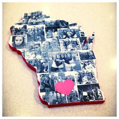 Made this gift for my friend who's going away to the University of Wisconsin Cut out state from a piece of wood using a jigsaw, painted sides red and the front white with acrylic paint, and then mod podged printed photos (used a laser printer on normal pa Cute Crafts, Diy And Crafts, Arts And Crafts, Wood Crafts, Craft Gifts, Diy Gifts, Wisconsin, Craft Projects, Projects To Try