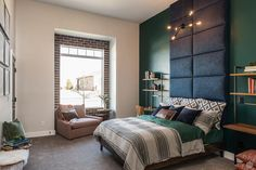 Black paneled headboard up to the ceiling Hidden Projector, Panel Headboard, Parade Of Homes, Ceiling Height, The Hamptons, Master Bedroom, New Homes, Interior Design, House