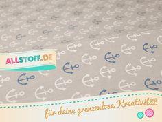 Kinderstoffe - Baumwollstoff Anker hellgrau - ein Designerstück von AllStoff bei DaWanda