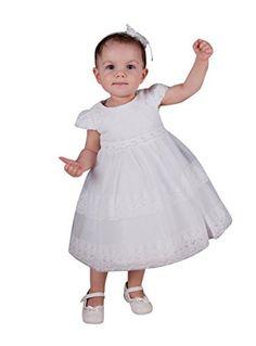 Robe blanche dentelle pour bebe