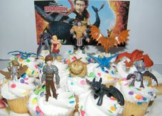 How to Train Your Dragon Set of 12 Figure Cake Toppers / Cupcake Party Favor Decorations with 9 Dragons, Hiccup, Astrid and Some New Charcte...