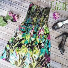 Caché Floral Watercolor Dress  This super rad floral-and-gold-trim strapless, free bust Caché dress will be absolutely perfect for spring!  All it needs is a cardigan and a great pair of kicks  Flowy, beautiful, super trendy and perfect for festival season! Excellent condition, like new!!  ✨ 100% Silk ✨ No Trades!  ❗️ But feel free to make an offer, I am willing to negotiate  ❗️UPDATED 4/29/16: Host Pick for Best in Dresses & Skirts! Thank you @thaedgeofglory!  Cache Dresses Mini