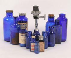 Lot Cobalt Pharmacy Bottles and Bromo Dispenser