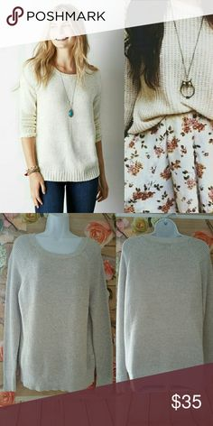 """American Eagle Waffle knit sweater 💕💕💕💕💕💕 💌Fast Shipping 🚭Smoke Free Home  🐶 Pet Friendly Home ✅ Always Clean & Packaged Well 📦 Bundle to Save More 💰 💖 I Consider All Reasonable Offers 💖  Length laying flat is 29"""" Bust laying flat is 22"""" 89% Cotton 7% Polyester 4% Other Fiber Silver shimmer threads all over American Eagle Outfitters Sweaters Crew & Scoop Necks"""