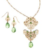 """Filigree Embellished Long Necklace and Earring Gift Set. Goldtone with faceted faux stones and beads. Necklace, 29 1/2"""" L with 3 1/2"""" extender. Pierced earrings, 1 3/4"""" L."""