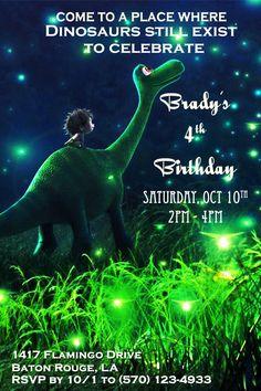 Good Dinosaur Invitation, Dinosaur Party,  The Good Dinosaur Invitation, Custom Birthday Invitation, Birthday Invite by GiggleBeanParties on Etsy