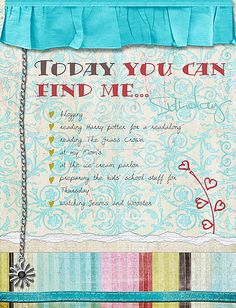 Today you can find me... by Rikki, via Flickr List Challenges, School S, Inspiring Art, 30 Day, Art Journals, Canning, Inspiration, Biblical Inspiration, Home Canning