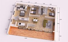 MODERNA DONACASA 150 M2 #Prefabricadas House Floor Design, Sims House Design, Building A Container Home, Container House Design, Small House Plans, House Floor Plans, Modern Small House Design, 2 Bedroom House Plans, Apartment Floor Plans