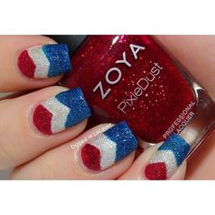 Textured Patriotic Chevron Nail Art - please see my board on Fourth of July and Other and Other Red/ White/Blue Occasions for tons more US patriotic mani ideas. colors used: Zoya PixieDusts Chyna and Liberty and Opi Liquid Sand Solitare Love Nails, How To Do Nails, Pretty Nails, Fancy Nails, Sparkly Nails, Gel Nail Designs, Cute Nail Designs, Art Designs, Chevron Nail Art