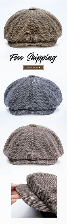 New Fashion-Men Middle-aged Cotton Newsboy Hunting Hat Solid Warm Beret Caps  Short Brim Peaked Cap 67d149a0266e
