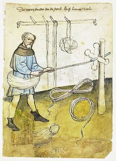 A rope maker at work, c. 1425