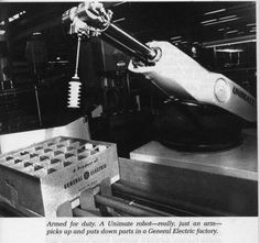 The first truly modern robot, digitally operated and programmable, was invented by George Devol in 1954 and was ultimately called the Unimate. Devol sold the first Unimate to General Motors in 1960, and it was installed in 1961 in a plant in Trenton, New Jersey to lift hot pieces of metal from a die casting machine and stack them.Devol's patent for the first digitally operated programmable robotic arm represents the foundation of the modern robotics industry