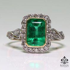 Antique Art Nouveau 18K Gold 1.9ct. Emerald & Diamond Ring