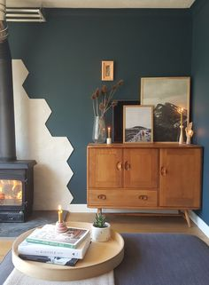 I had hoped to be sharing the finished living room with you by now, that was the plan anyway. Before Christmas I painted the walls with two coats of Valspar Mountain Midnight, a dark green (that fr… Dark Green Living Room, Dark Green Walls, Dark Living Rooms, Living Room Update, Living Room Paint, Living Room Modern, Home Living Room, Living Room Designs, Living Room Decor