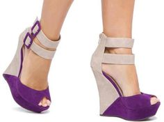 Purple Wedge Heel Shoes | Tsaa Heel