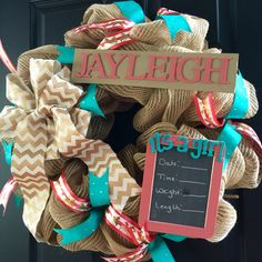 Baby Hospital Wreath with Chalkboard. Great Baby Shower gift for mother to be. It's a girl!