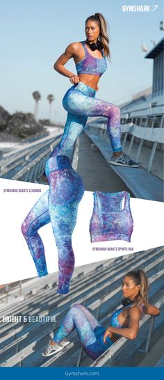 Bright & Beautiful. Looking for something to stand out in? Look no further. The Women's Quartz Sports Bra and Figure Sculpting Leggings are finished in a beautiful and eye-catching print.