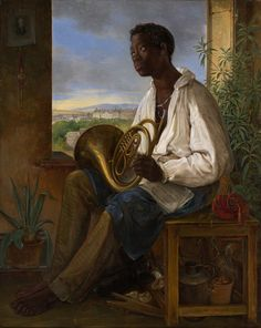 Albert Schindler born in Andělská Hora, République tchèque Portrait of a Gardener and Horn Player in the Household of the Emperor Francis I, 1836 Oil on panel 39 x cm x 12 in. Goldscheider, Renaissance Kunst, Francis I, Canvas Prints, Art Prints, Big Canvas, Painting Canvas, Painting Tips, Watercolor Painting