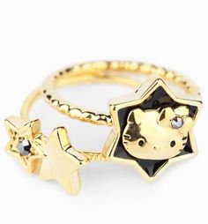 Black and Golden glory - #HelloKitty knuckle rings for instant cuteness