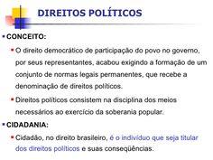 O direito democrático de participação do povo no governo, por seus representantes,...