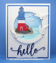 Bev's card using Lighthouse, Seagulls & Hello Phrase dies