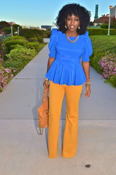 Style Pantry | Puff Sleeve Peplum Blouse + Yellow High Waist Jeans