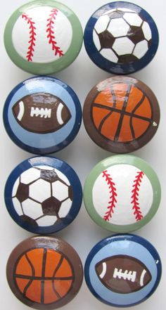 knobs- these would match sports room perfectly!