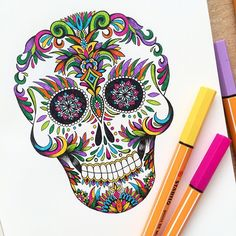 Happy Halloween and Happy Birthday to my bestie who loves everything colourful! 45 drawings complete now time to go dress up as a zombie  #inktober #day31 #halloween #happybirthday #mexican #skull #colourful #dead
